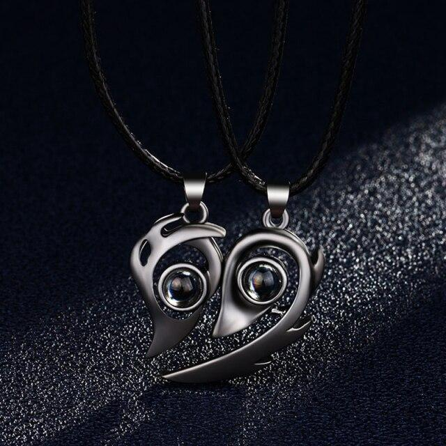 Personality Magnetic Flame Heart Shaped 100 Languages I Love You Projection Necklaces