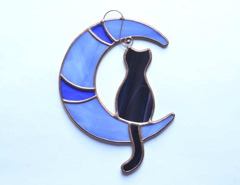 Stained glass cat on the moon, window hanging suncatcher, cat lover gift, pet lost gift