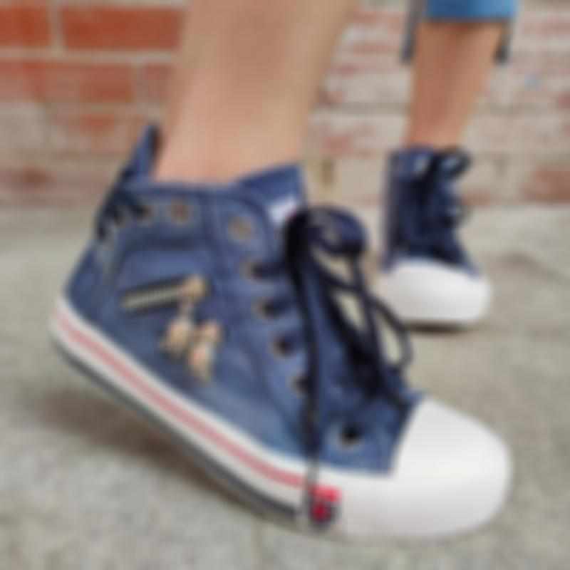 🔥 50% OFF LAST TWO DAYS🔥Women's Denim High-Top Back Lace-P Design Canvas Sneakers Shoes