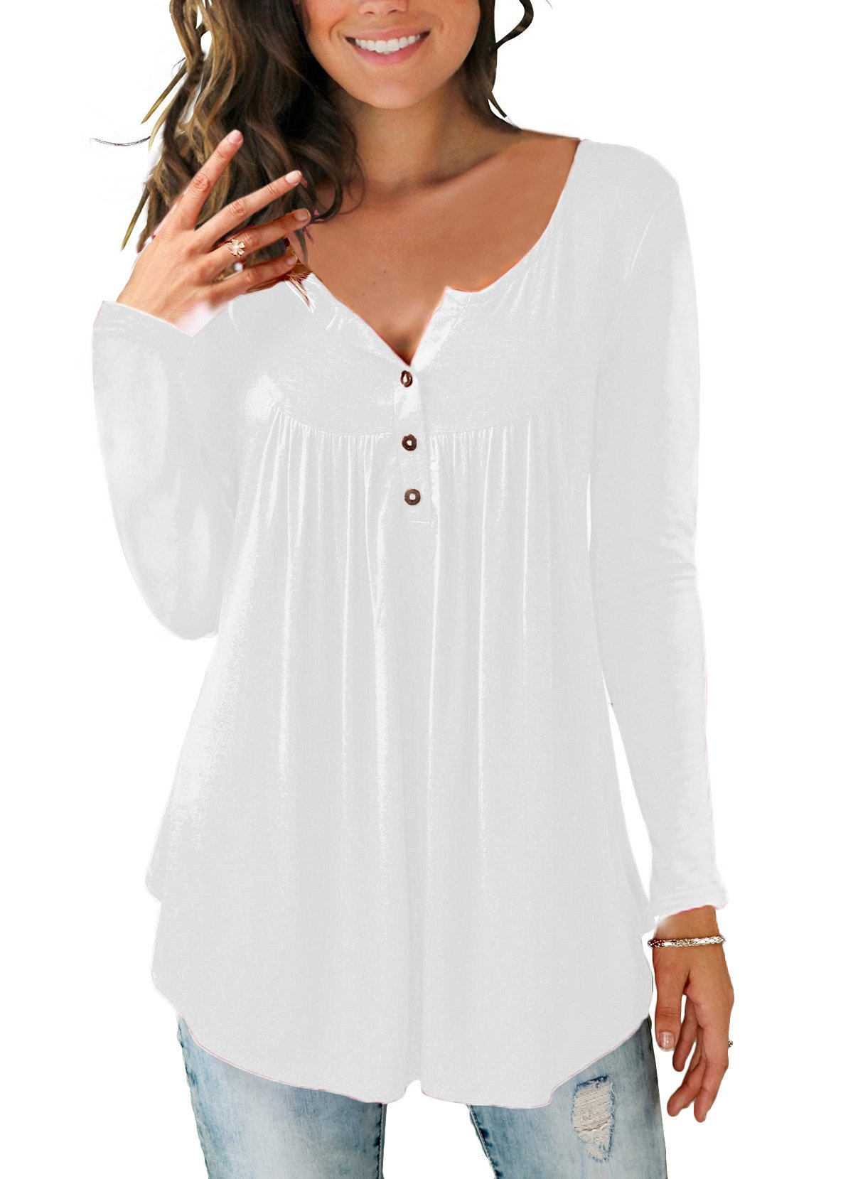 Women Plain Ruched Long Sleeve Button Casual Vest Tank Tops