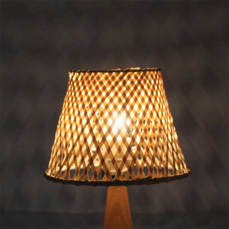 handmade bamboo lampshade wooden base small bedside led indoor decorative hotel Modern table lamp desk night light Bedside lamp-2.16