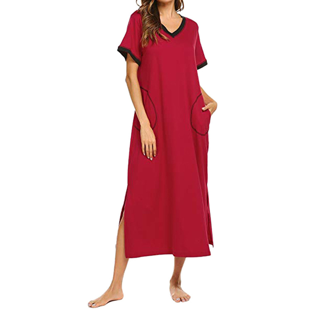 two extra pockets Solid color loose dress