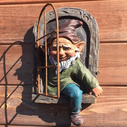 Gnome Leave The Window,Whimsical Tree Sculpture Garden Decoration