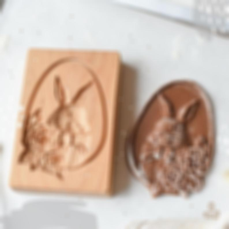 Cookie Cutter - Rose Easter Bunny Cookie Stamp