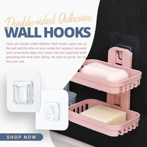 (Last day Promotion - 50% OFF) Double-sided Adhesive Wall Hooks & Set of 4 Pcs