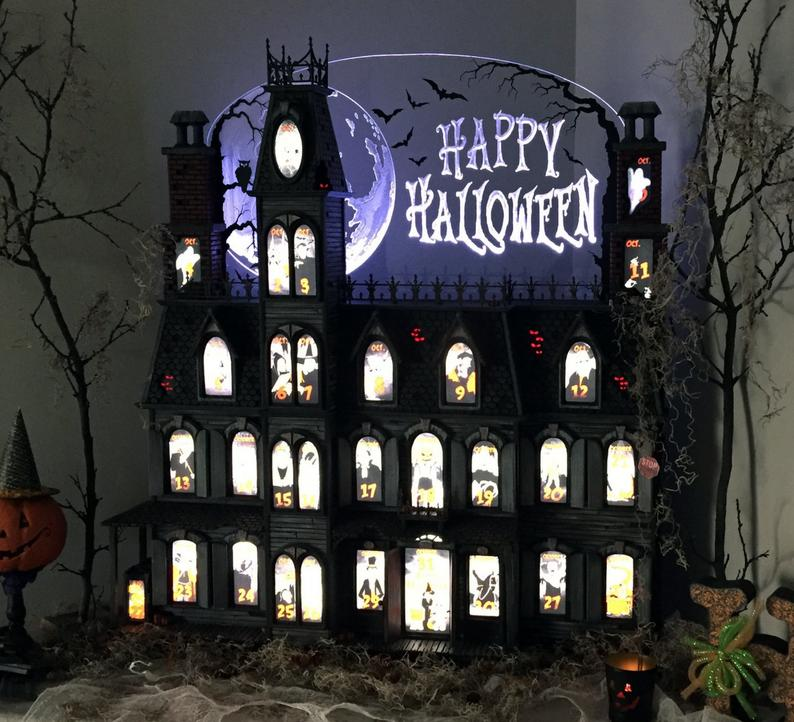 Handcrafted Victorian Spooky Mansion Countdown Calendar