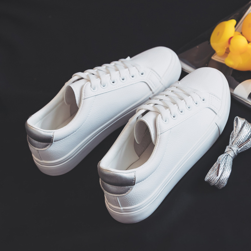 Fashion Shoes Women's Vulcanize Shoes Spring New Casual Classic Solid Color PU Leather Shoes Women Casual White Shoes Sneakers