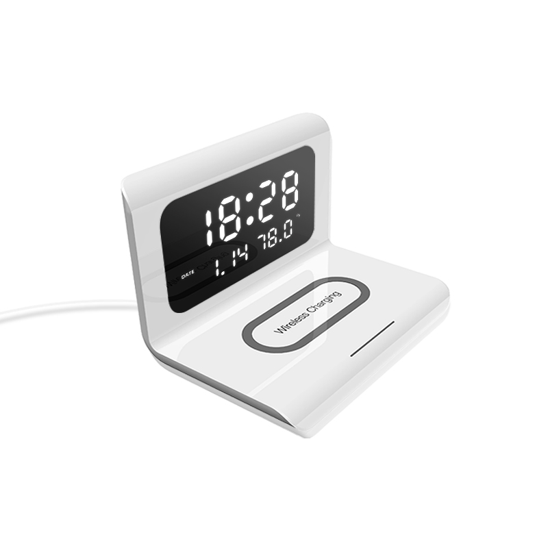 2020 New Creative Wireless Phone Charging station with Digital Alarm Clock