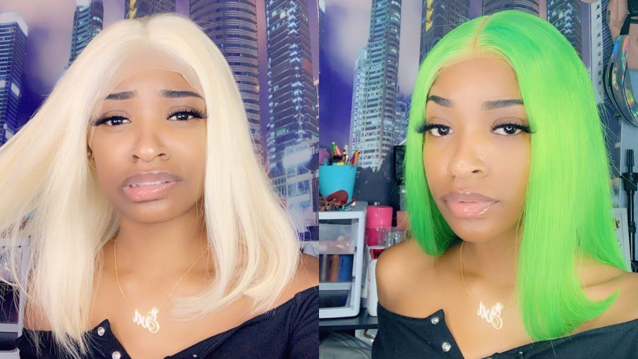 Lace Front Wigs Virgin Hair For Black Women Lime Green Synthetic Wig All Might Wig Evawigs Fake Scalp Lace Wig Free Shipping