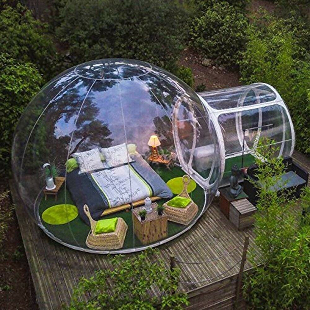 😍Promotional Clearance⏰ ❗❗New Outdoor Camping Bubble Tent Clear Inflatable Air Dome Transparent Tent&Single Double Quilt Pillow