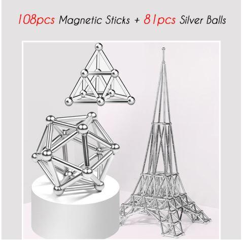 DIY Magnetic Sticks And Balls Neat Magnets Magnetic Sticks and Steel Balls Building Set, Fidget and Educational Toys, 63 Pieces