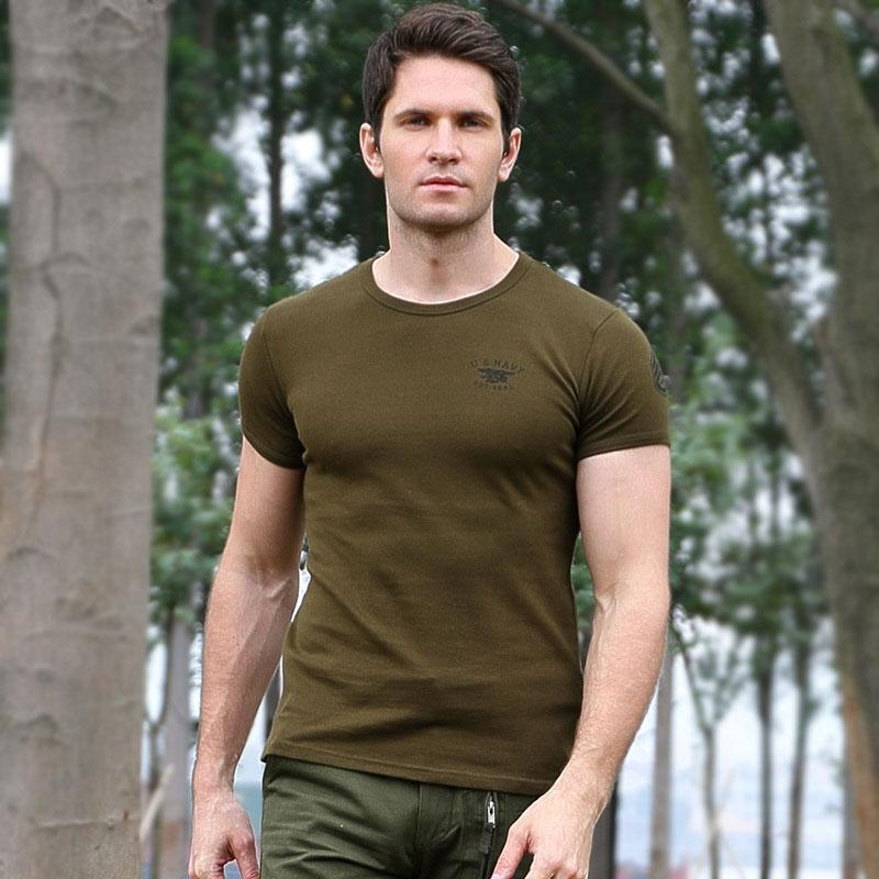 On sale-Casual Cotton Round Neck Military Men T-shirt
