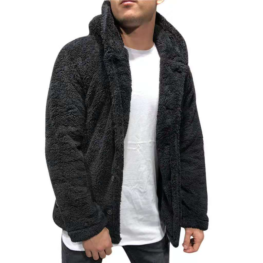 Men's hooded solid color coat sweater