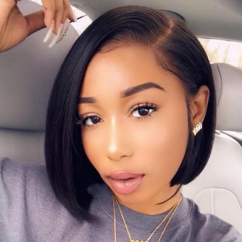 Lunawigs African American Female Black Side Parted Short Straight Wig
