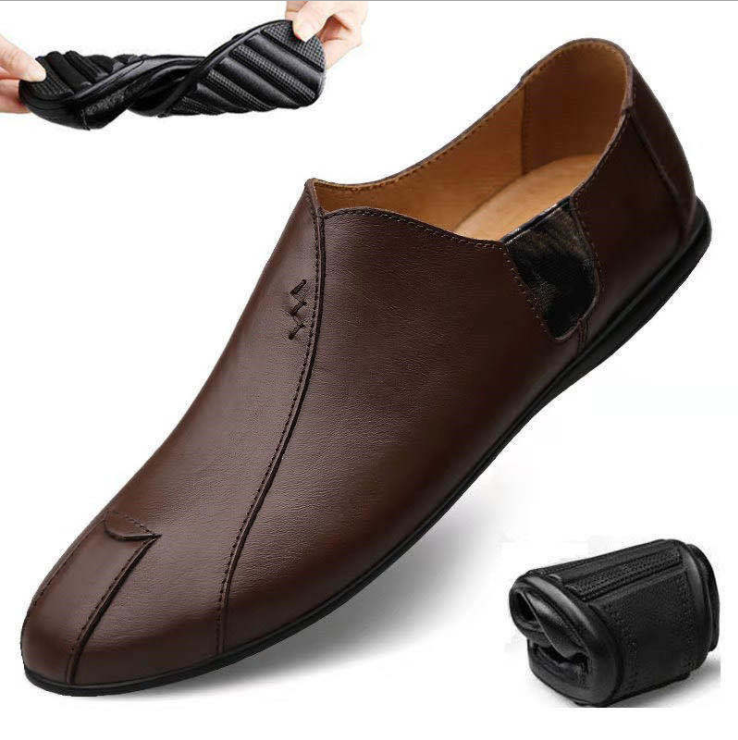 Korean style leather breathable soft sole men's casual shoes