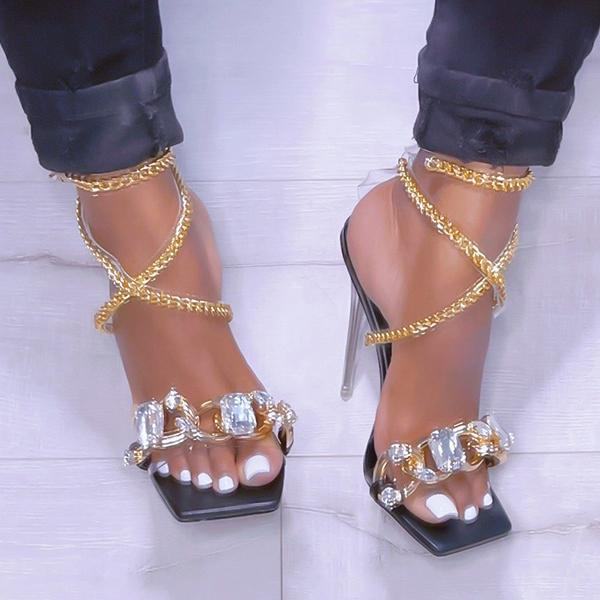 Zoeyootd Noble Gold Chain Large Crystal High Heel Sandals