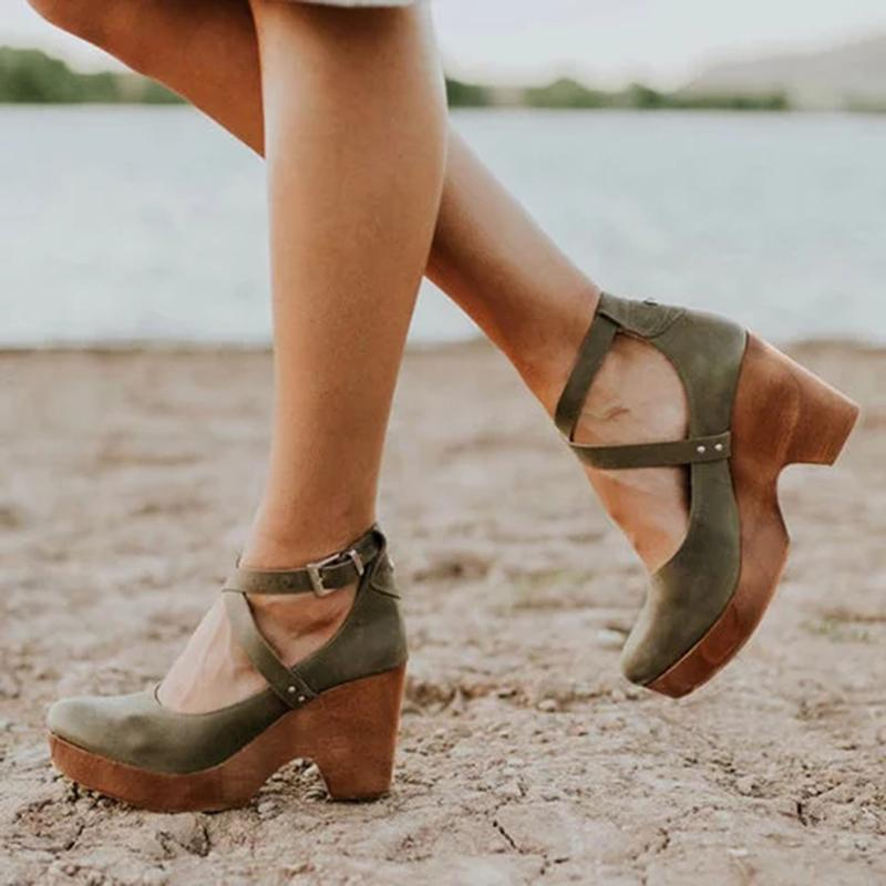 Summer Women Closed Toe Chunky Ankle Strap Sandals