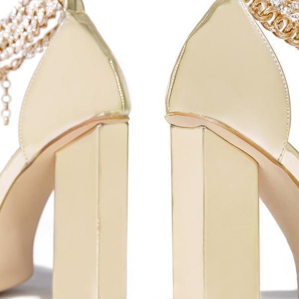 Floralmoda Gold-Tone Chain Embellished Ankle Strap Chunky Heels