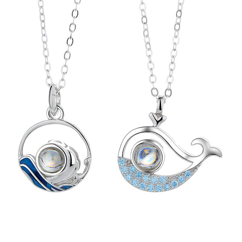 100 Different Language I Love U dolphin Pendant Necklace Lover