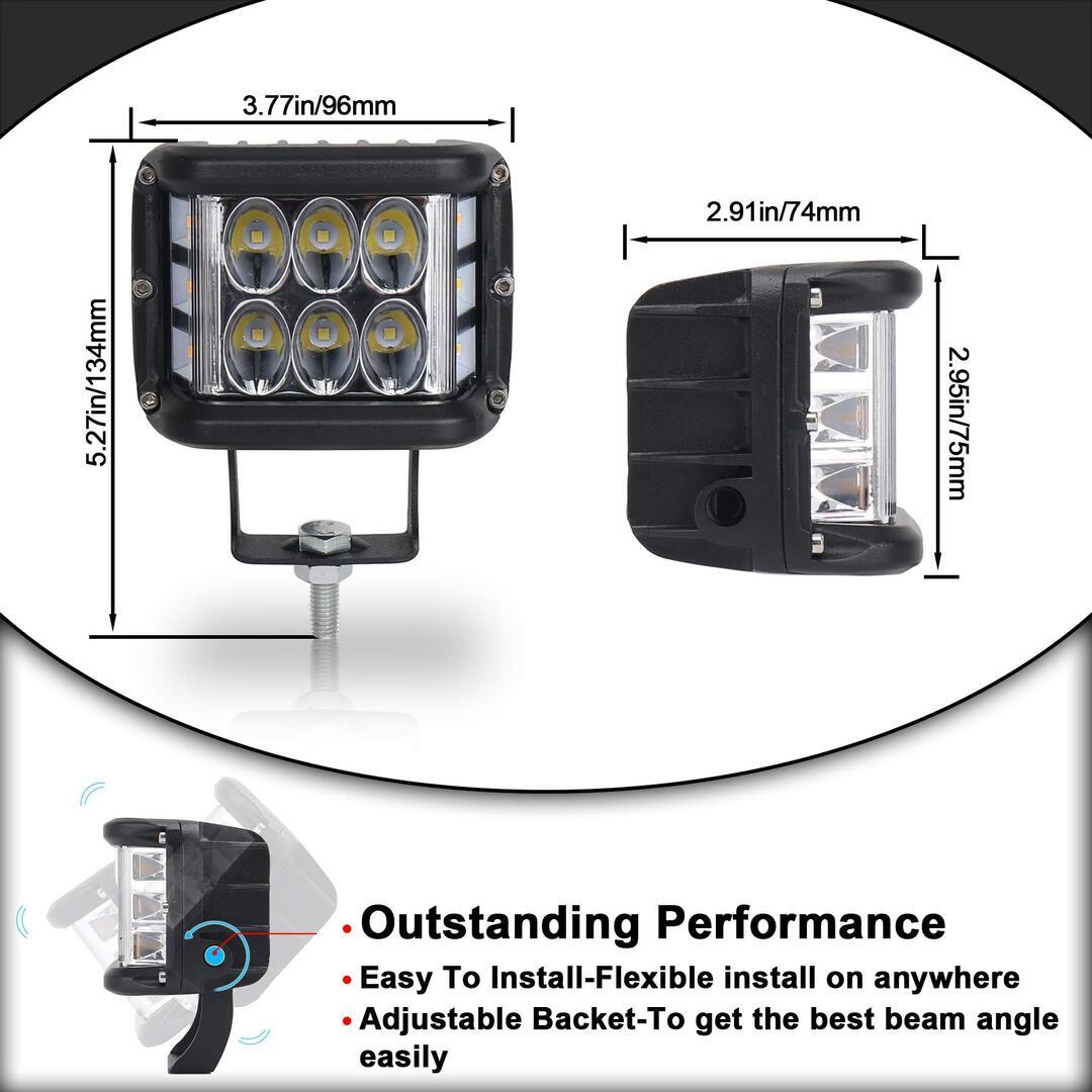 🔥3.75'' Dual Side Shooter Dual Color Strobe Cree Pods- 4200 Lumen For Each Pod[47]