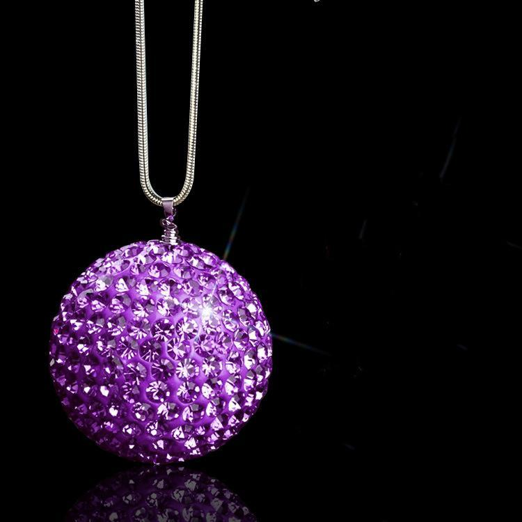 Bling Car Rear View Mirror Pendant Crystal Ornament Lucky Crystal Ball Car Accessories