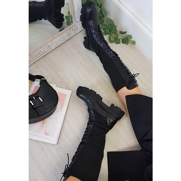 Angelovu Women Lace Up Quilted Knee High Boots