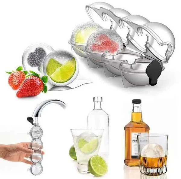 (🔥Summer Hot Sale - Save 50% OFF) 4-Ball Ice Cube Mold, Buy 2 Get 2 Free