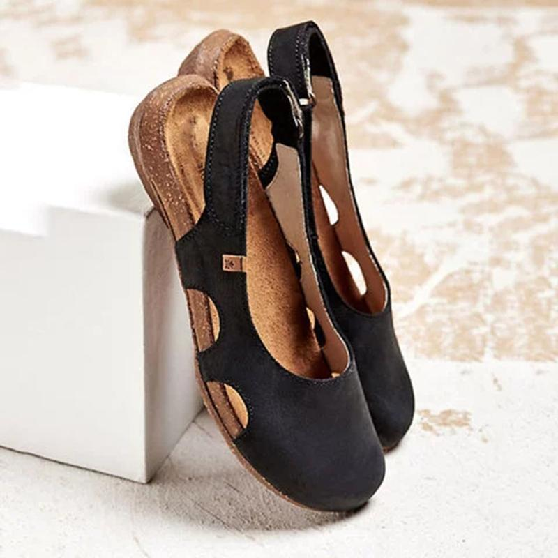 Beef Tendon Hollow Out Suede Comfy Sandals