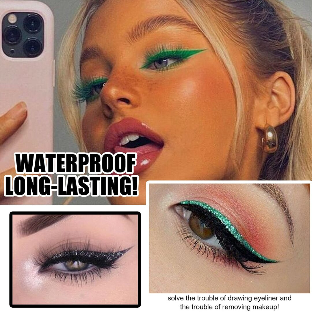 (🎄🎁Early-Christmas Hot Sale) 3-in-1 Reusable Eyeliner and Eyelash Stickers with 7 Colors - buy more and save more
