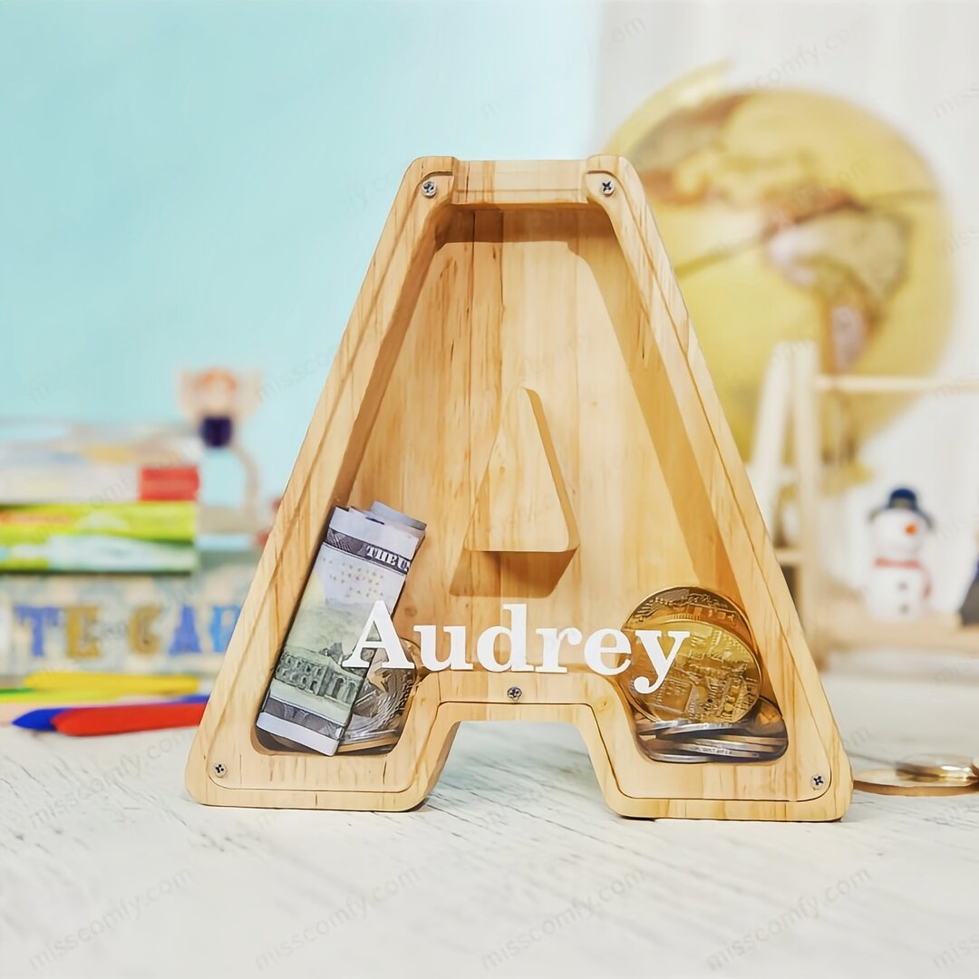 【Buy 2 Free Shipping】🔥🔥Personalized Alphabet Wooden Piggy Bank