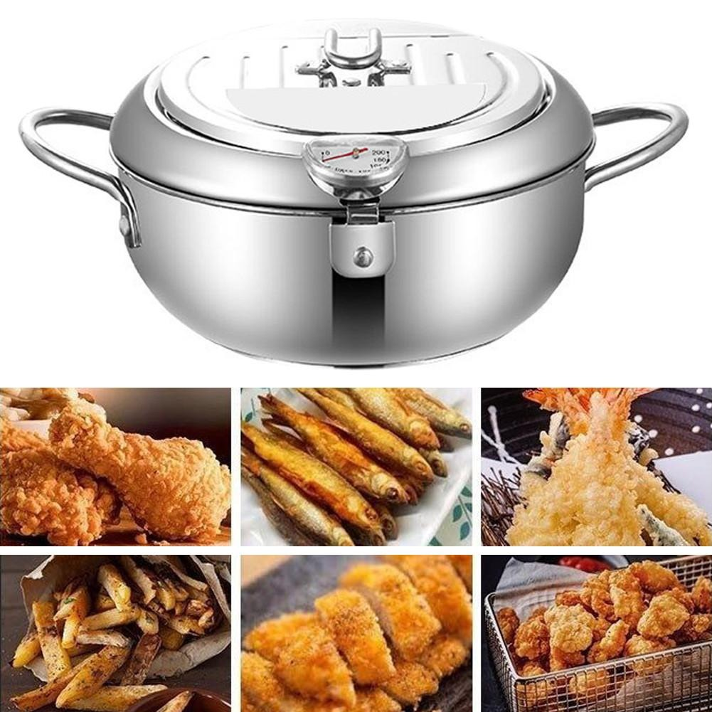 (New Year Discount 50%OFF-😍FREESHIPPING😍)Mini stainless steel fryer with lid and temperature control