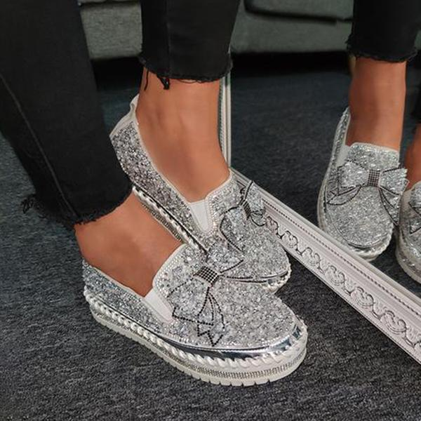 Lalarosa Women Shining Rhinestone Slip-on Loafers&Sneakers with Cute Bowknot