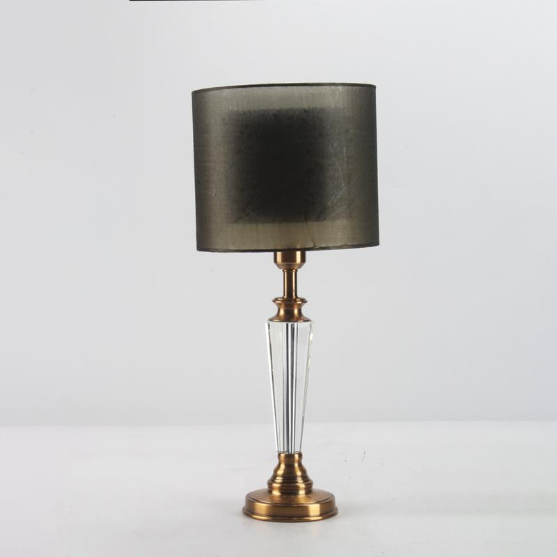 Premium bedside lamp with metal base, crystal pillar and gauze lampshade for night light decorate the hotel bedside Bedside lamp-2.16
