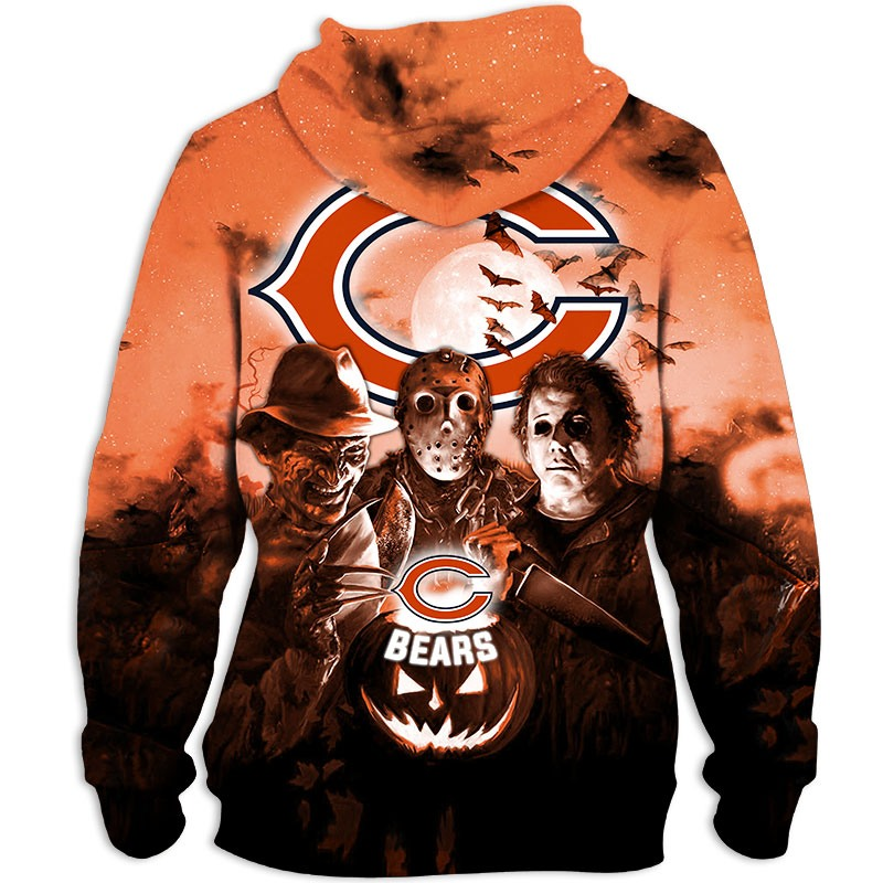 Chicago Bears Hoodie 3D Halloween Horror night gift for fans