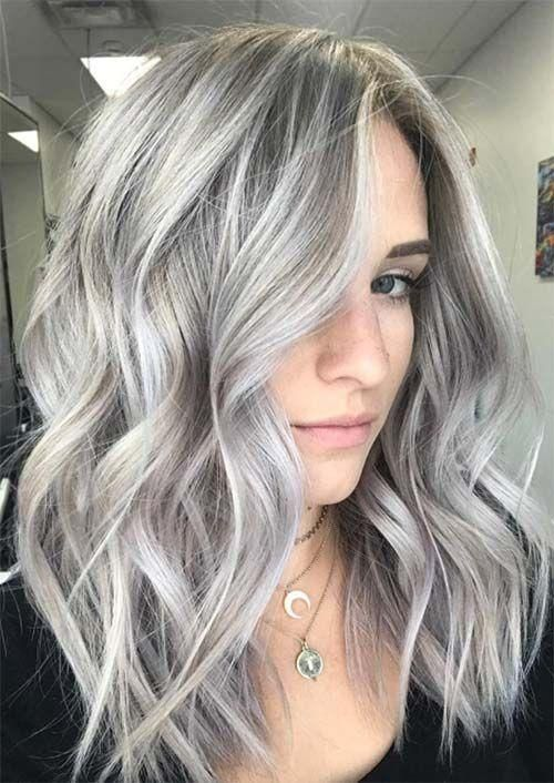 Lace Frontal Wigs For Women Gray Wigs Wet And Wavy Saga Remy Human Hair