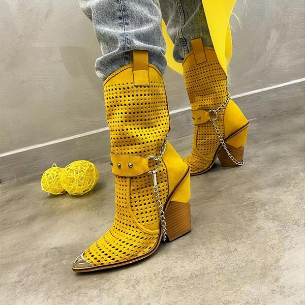 Floralmoda Metal Pointed Toe Cap Hollow Out Chunky Heel Boots