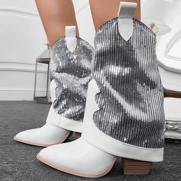 Alvashare Women Silver Sequined Pointed Toe Boots