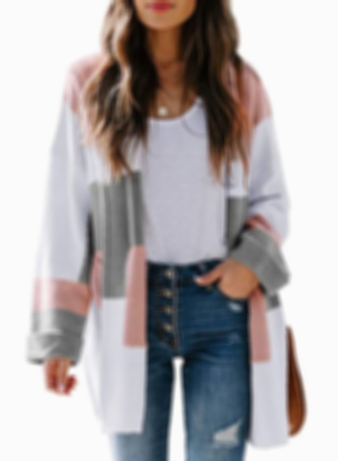🔥 49% OFF🔥Color Block Oversized Soft Loose Coat Open Front Cardigan