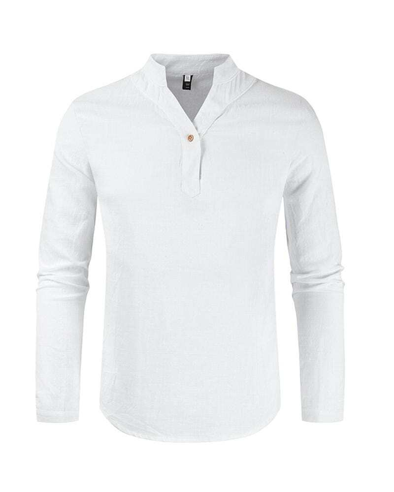 Cotton And Linen Solid Color Simple Shirt