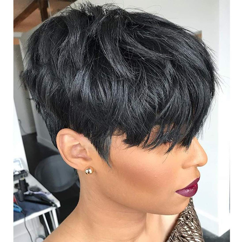 Luna 088 Classic Fluffy Short Pixie Hair Wig with Bangs for Women