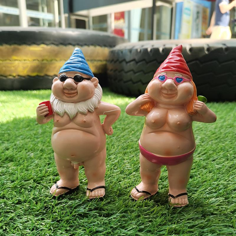 Nowaday Gnomes Biker Dude & Babe Motorcycle Gnome Garden