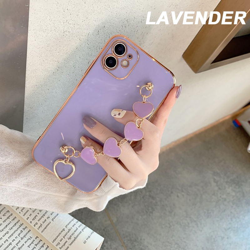 (BUY 1 GET 1 FREE)2021 Luxury Plating Heart Fabric Bracelet Hand Holder Cover for iPhone