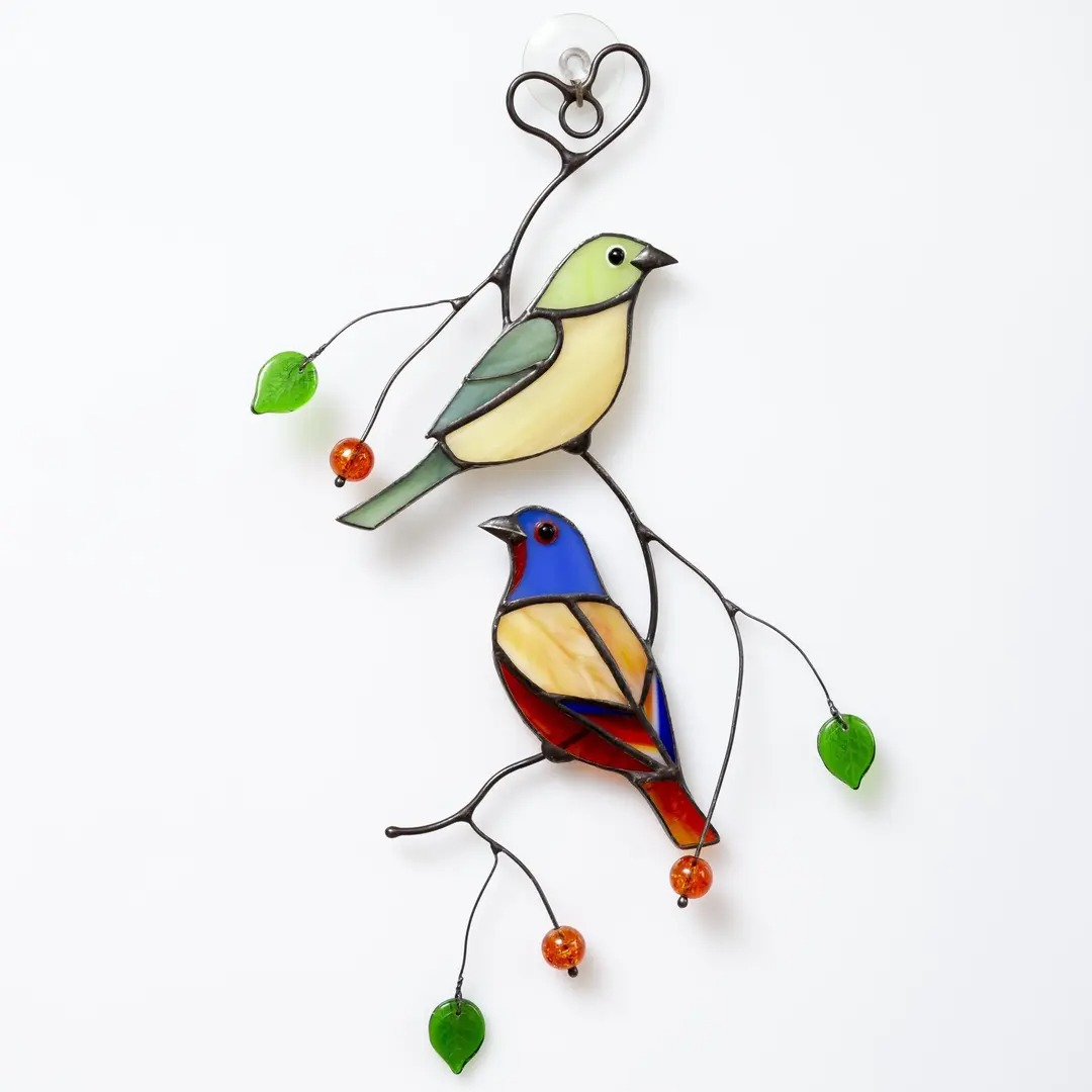 Stained glass picture of Bunting Birds