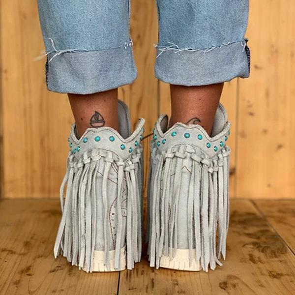 Faddishshoes Tassel Wedge Heel Faux Suede Spring/fall Boots