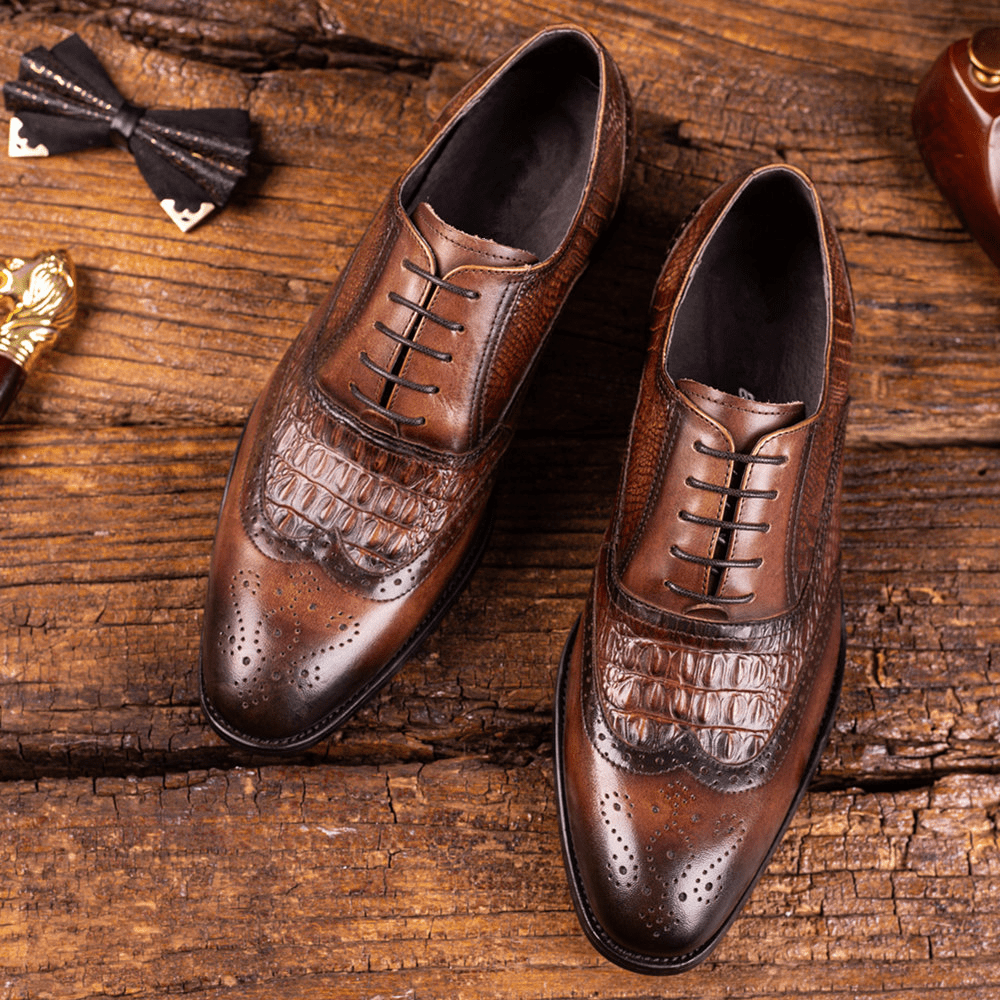 🔥HI-END CROCODILE PRODUCTS🎁🔥Classical Style Top Handmade Crocodile Leather Shoes