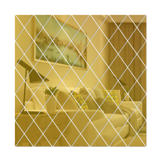 Rhombus  Mirror  Background Wall Sticker(🥰Buy More Save More🥰)