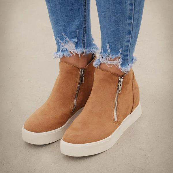 Faddishshoes Textured Wedge Sneakers