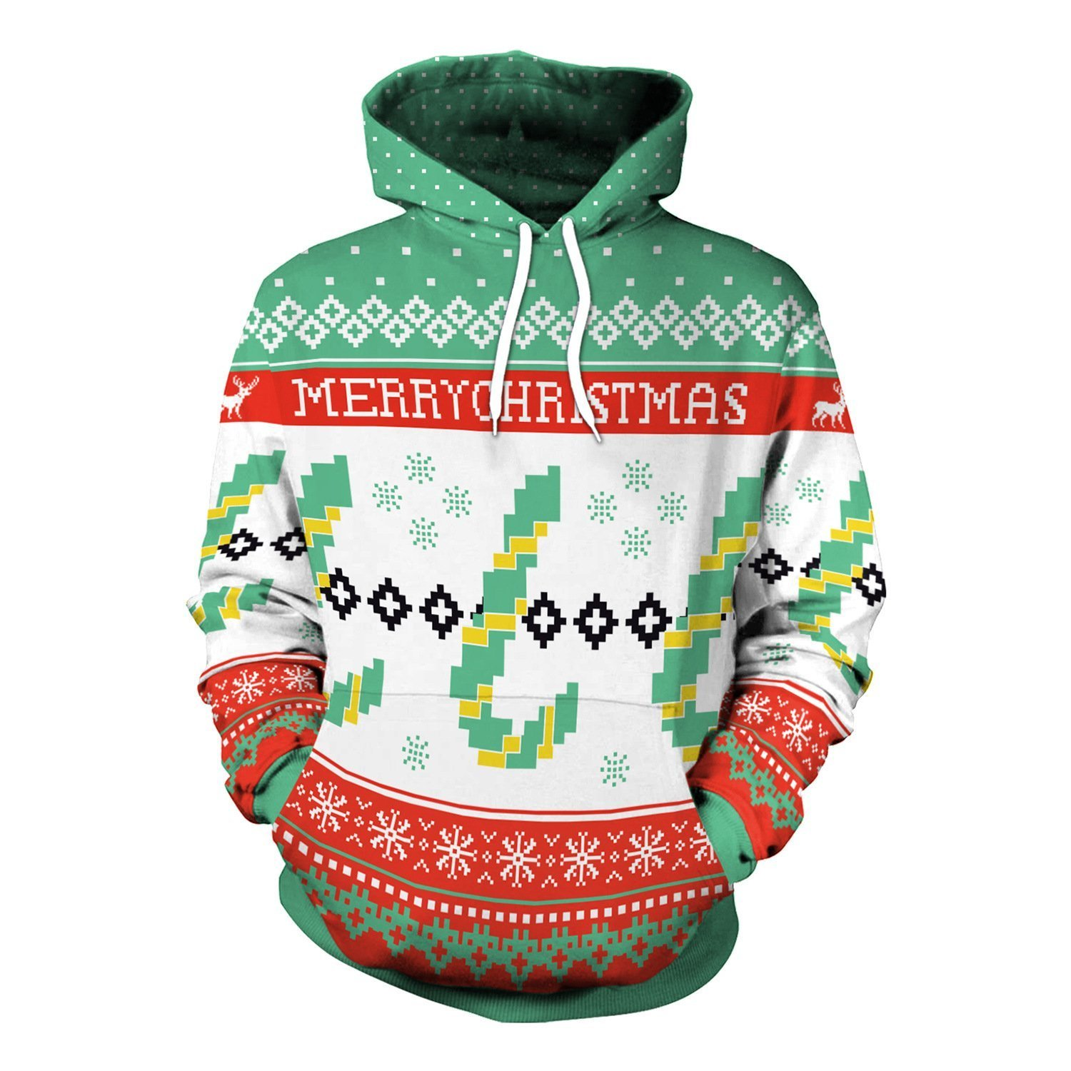 Christmas Holiday Casual Party Loose Hooded Pockets Sweatshirt