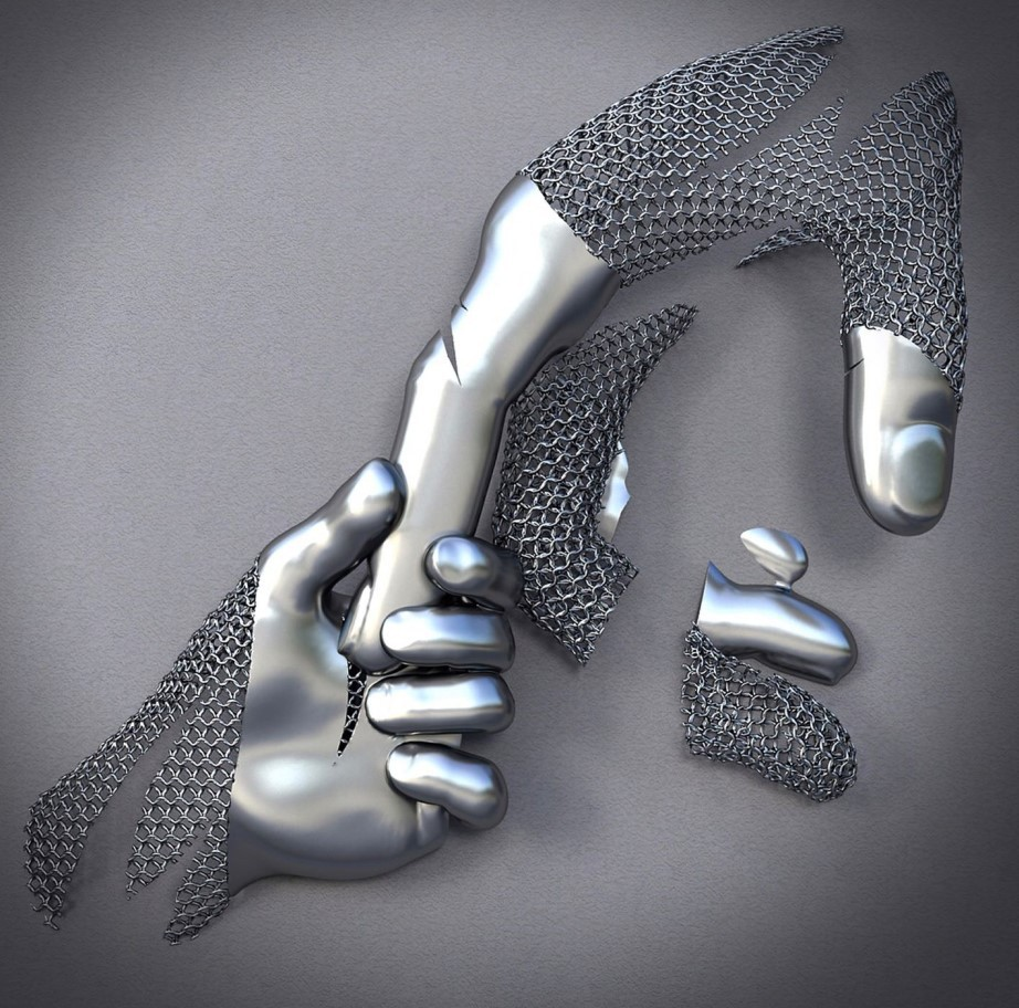 Abstract Metal Figure Statue Art Canvas Posters