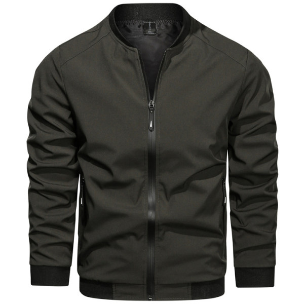 Men's Solid Color Casual Loose Stand Collar Jacket